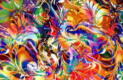 Tropical mirage. Colorful abstract reflective scroll fern design with motion blur treatment Royalty Free Stock Photo