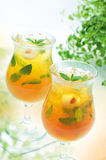 Tropical Mojito. Two glasses of tropical mojito cocktail using citrus fruits and lychee with mint Stock Photo