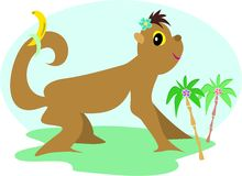 Tropical Monkey with Palm Trees and Banana Royalty Free Stock Photos