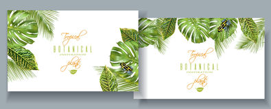 Tropical monstera banners. Vector tropical horizontal banners with monstera,croton leaves and little frog. Exotic design for cosmetics, spa, perfume, health care Stock Photo