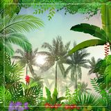 Tropical morning landscape with palm trees and leaves. Illustration of Tropical morning landscape with palm trees and leaves Stock Photo