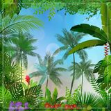 Tropical morning landscape with palm trees and leaves. Illustration of Tropical morning landscape with palm trees and leaves Royalty Free Stock Image