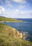 Tropical mountain coastline. Lush green mountain side view of the British Virgin Islands Stock Image