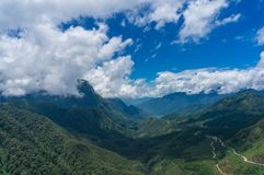 Tropical mountain valley landscape. On sunny day. Vietnam Royalty Free Stock Photo
