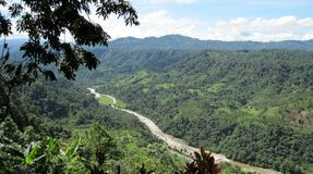 Tropical mountain vista above a river,Ecuador   Stock Photos