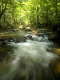Tropical Mountain Waterfall. A view of the tropical mountain waterfall and river stream in Asia Stock Images