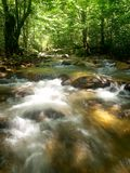 Tropical Mountain Waterfall. A view of the tropical mountain waterfall and river stream in Asia Stock Photos