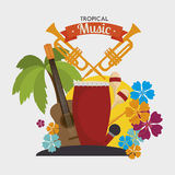 Tropical music instruments isolated icon design Stock Image
