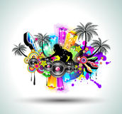 Tropical Music Party Disco Flyer Royalty Free Stock Image