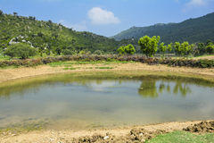 Tropical natural pond Soon Valley Pakistan. A beautiful natural pond in Soon Valley Pakistan surrounded by mountains Stock Photo