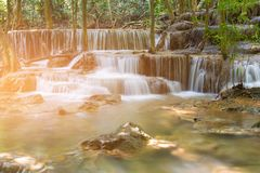 Tropical natural water fall in natural reserves forest stock images
