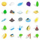 Tropical nature icons set, isometric style Royalty Free Stock Photo