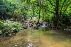 Tropical nature in sarika waterfall at nakhon nayok, Thailand Royalty Free Stock Photos