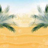 Tropical nature, warm Golden sand and the bright. Sun under the leaves of palm trees Stock Photo