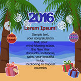 Tropical New Year background for text with palm trees. Sea, snowflakes and presents. 2016 exotic travel and hot countries Stock Photography