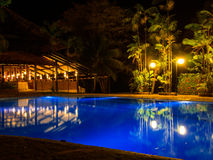 Tropical night hotel. Beauty made by pool water and palm - hotel resort - Salinopolis - Amazonia - Brazil Royalty Free Stock Photo