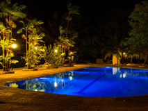 Tropical night hotel. Beauty made by pool water and palm - hotel resort - Salinopolis - Amazonia - Brazil Stock Photography