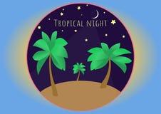 Tropical night illustration in circle royalty free illustration