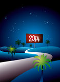 Tropical 2014 at night. Illustration of a tropical night with a winding road and palm trees and a 2014 sign in the distance vector illustration