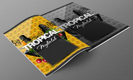 Tropical nightclub magazine mockup Stock Photos