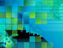 Tropical nighttime cityscape Stock Image