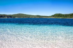 Tropical Oasis. Beautiful blue waters of Lake Mackenzie, Fraser Island, Queensland, Australia Stock Photos