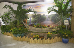 Tropical oasis sponsored by Royal Caribbean at Macy's at Herald Square on Broadway in Manhattan Royalty Free Stock Images