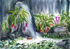 Tropical oasis watercolor Royalty Free Stock Photos