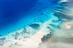 Tropical ocean from above. Beautiful view of Quirimbas archipilago in Mozambique from above Royalty Free Stock Images