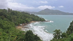 Tropical ocean beach from Laem Sing and Kamala beach viewpoint at Phuket. Thailand stock footage