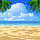 Tropical ocean beach. With sand and palm trees  illustration Royalty Free Stock Image