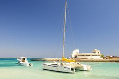 Tropical ocean and catamaran Stock Photography