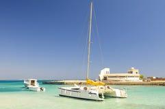 Tropical ocean and catamaran stock photography