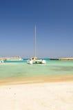 Tropical ocean and catamaran royalty free stock photo