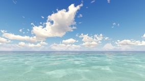 Tropical ocean and cloudy sky 3D render stock video