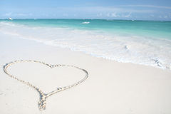 Tropical Ocean, Heart on Beach Stock Images