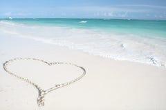 Tropical Ocean, Heart on Beach stock images
