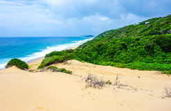 Tropical ocean view in Mozambique coastline. Tropical ocean view with sand dunes near Ponta do Ouro in Mozambique coastline Stock Photo
