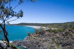 Tropical oceanic bay (landscape); Australia. Beach view with eucalyptus trees and a white sand beach at Noosa Heads Park, Australia stock photos