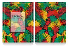 Tropical offset print effect jungle illustration Stock Photography