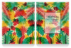 Tropical offset print effect jungle illustration Royalty Free Stock Photo