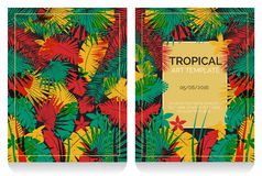 Tropical offset print effect jungle illustration Royalty Free Stock Photos