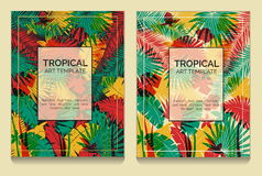 Tropical offset print effect jungle templates Royalty Free Stock Photo