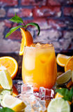 Tropical orange cocktail with ice cubes Royalty Free Stock Photo