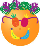 Tropical orange dude with pineapple sunglasses, bananas mouth and palms vector illustration