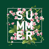 Tropical Orchid Flowers Summer Background. Graphic Tshirt Banner Royalty Free Stock Images