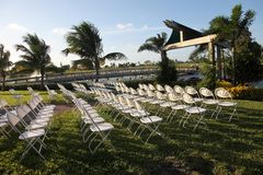 Tropical outdoor amphitheater. Chairs for seating in an tropical outdoor amphitheater Royalty Free Stock Image
