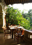 Tropical outdoor dining patio Royalty Free Stock Photography