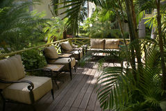 Tropical outdoor lounge Royalty Free Stock Images