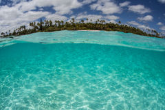 Tropical Pacific Island. Clear, warm water surrounds remote Mare Island near New Caledonia in the south Pacific Ocean royalty free stock image